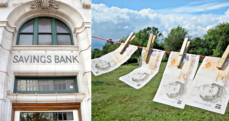 bank and money on clothesline