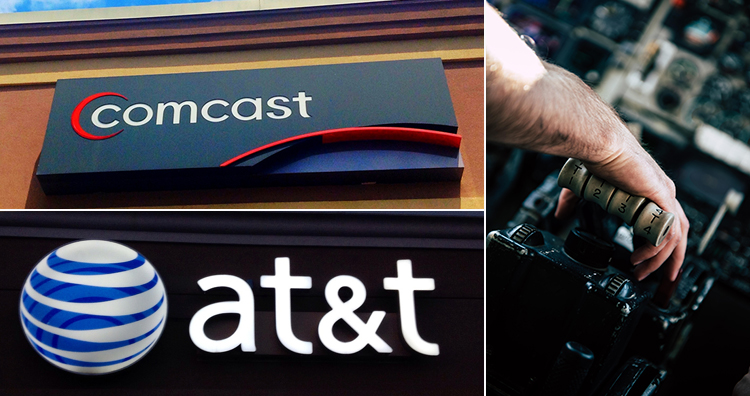 Comcast and AT&T logos and throttle