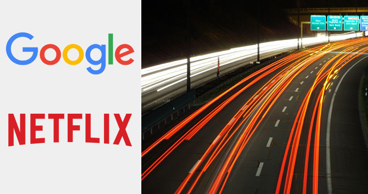 Google and Netflix logos and fast lane