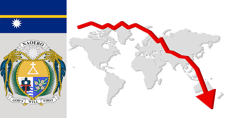 Nauru flag coat of arms and world map graph