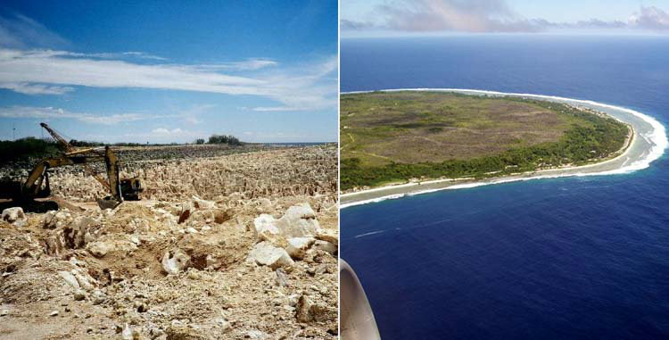 Nauru mining damage and aerial photo