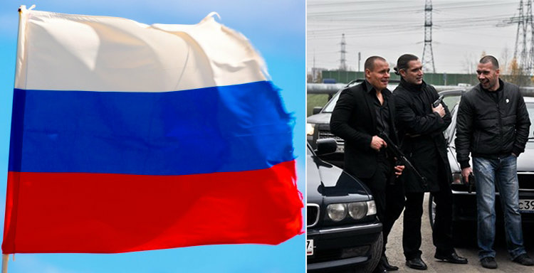 Russian flag and gangsters