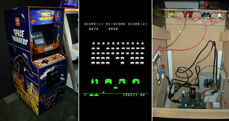 space invaders and cabinet interior
