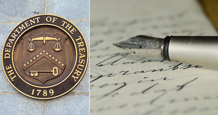 treasury department seal and letter