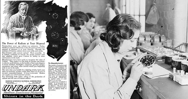 1921 magazine advertisement for Undark, Radium dial painter girl