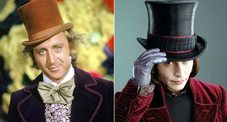 Gene Wilder and Johnny Depp as Willy Wonka