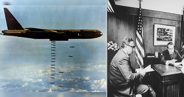 U.S. Air Force Boeing B 52D dropping bombs over Vietnam, Meeting at Camp David to discuss the Vietnam situation