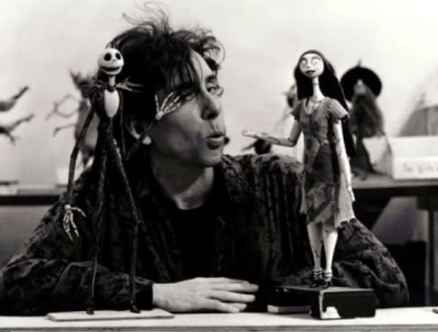 Tim Burton at set of The Nightmare Before Christmas