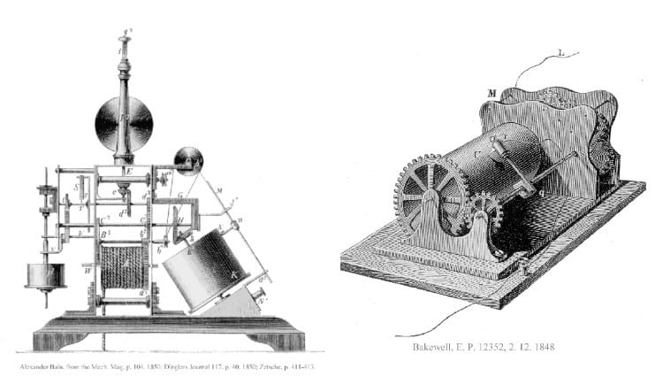Alexander Bain's and Frederick Bakewell's Facsimile Machines