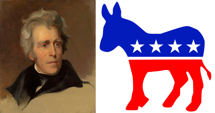 Andrew Jackson, donkey as his party's mascot