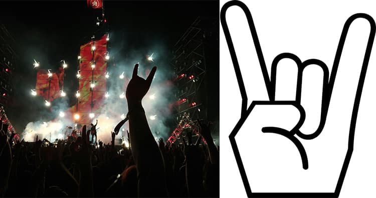 Audience showing horn sign gesture in rock band concert, Horn Sign Gesture