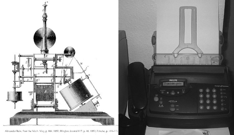 Bain's Improved Facsimile, 1850, and New Fax Machine