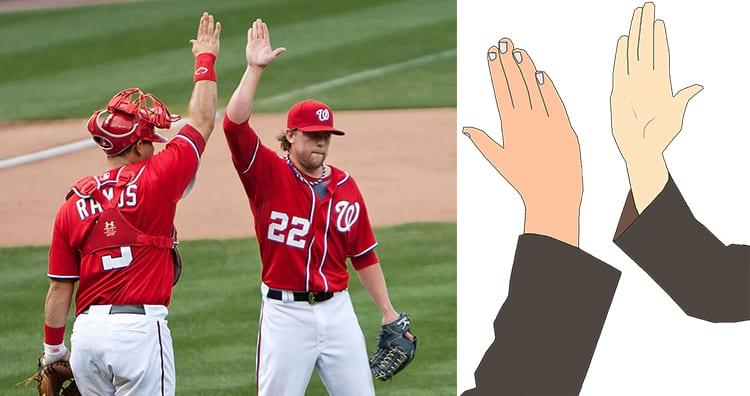 Baseball Players High Five, High Five Gesture