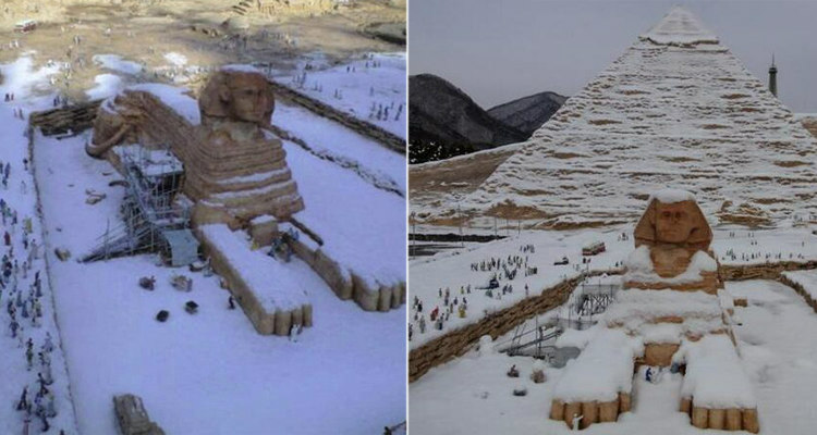 Egypt's Sphinx Covered in Snow