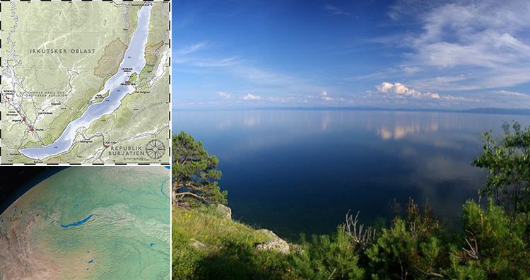 Lake Baikal on map, Lake Baikal from space, Lake Baikal