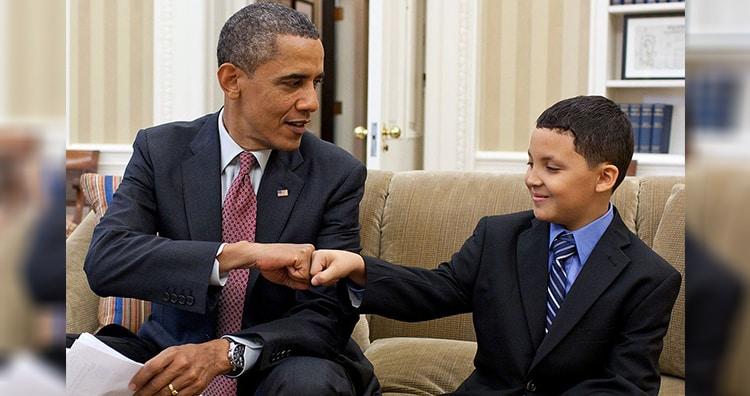 President Barack Obama fist-bumps Make-a-Wish child Diego Diaz