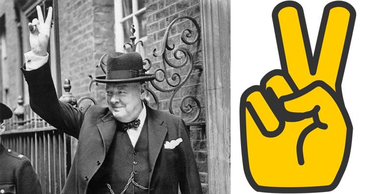 Winston Churchill V sign, V gesture