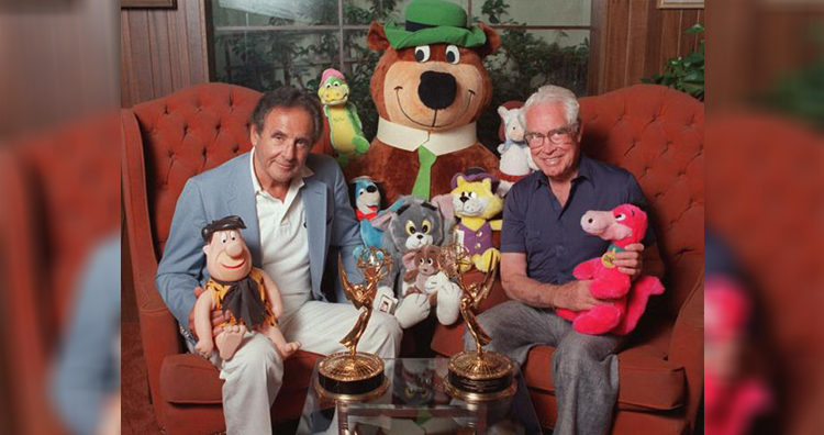 Joseph Barbera and William Hanna pose with some of their cartoon characters