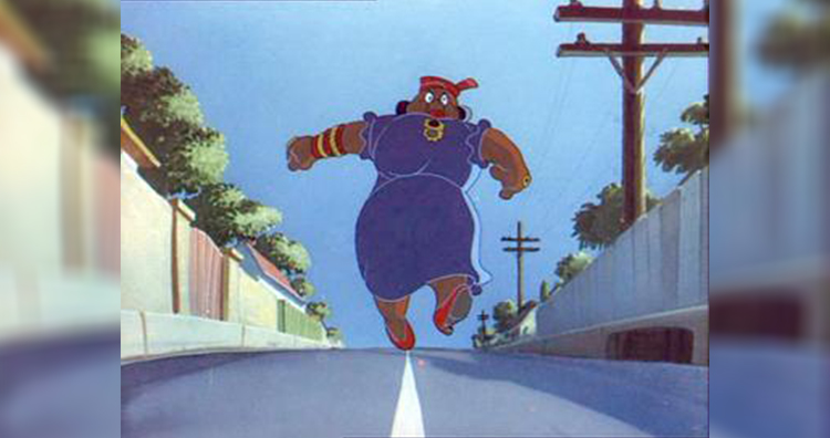 Mammy Two Shoes in a scene from the Tom & Jerry short Saturday Evening Puss, the only time that her face was shown.