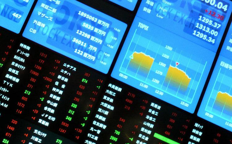 Ticker board of Tokyo Stock Exchange
