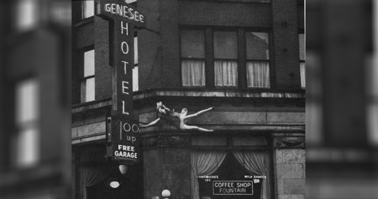 Woman jumping to her death from the eighth floor of the Genesee Hotel
