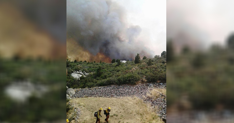 Yarnell Hill Fire with firefighters in the foreground