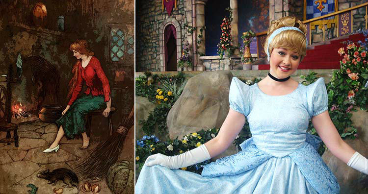Cinderella painting and at Disneyland
