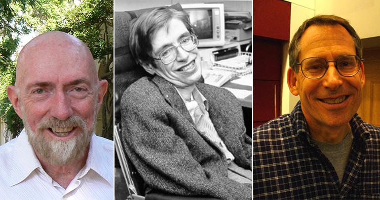 Kip Thorne(Left), Stephen Hawking(Middle), John Preskill(Right)