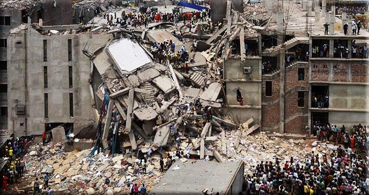 Engineering failures: Rana Plaza, the Savar building crashes to ground.