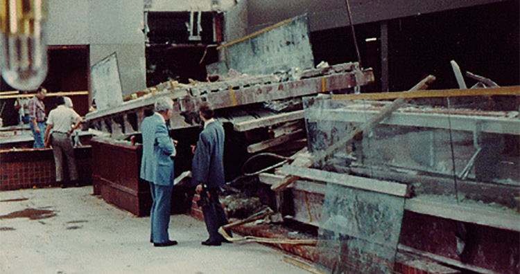 Investigations after the collapse of the Hyatt Regency hotel walkway.