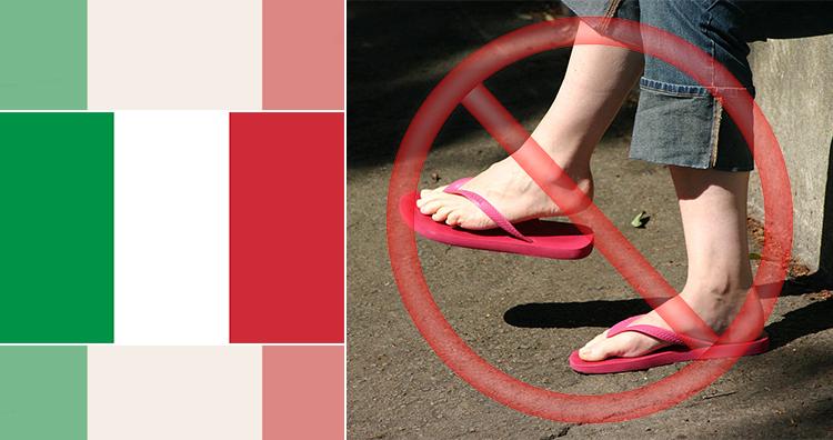 Italy Flag, Flip Flops