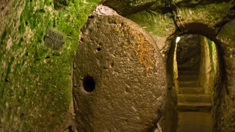 Round Stone Doorway in Derinkuyu Underground City