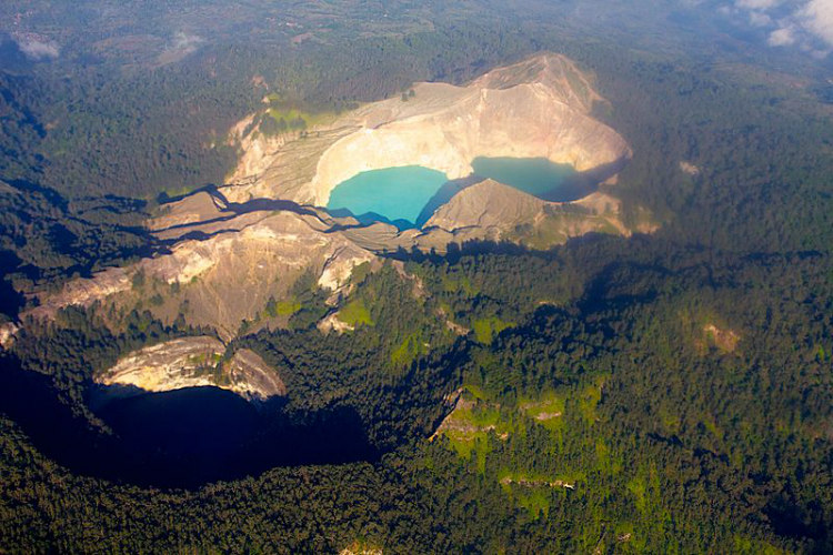 The Three Lakes of Kelimutu From the Air