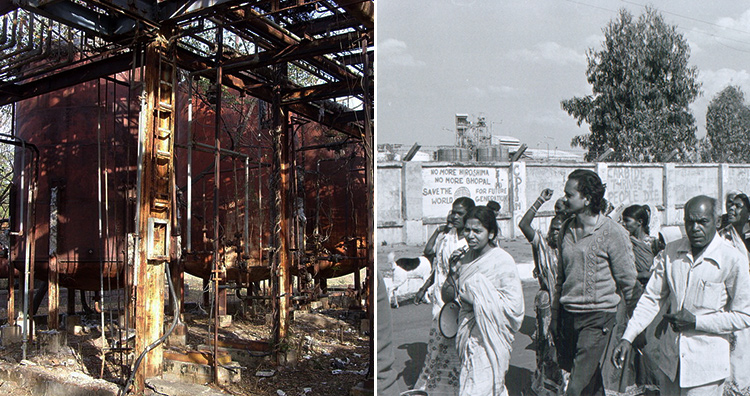 Engineering catastrophes: UCIL- The site of Bhopal Gas Tragedy, followed by protests in Bhopal.