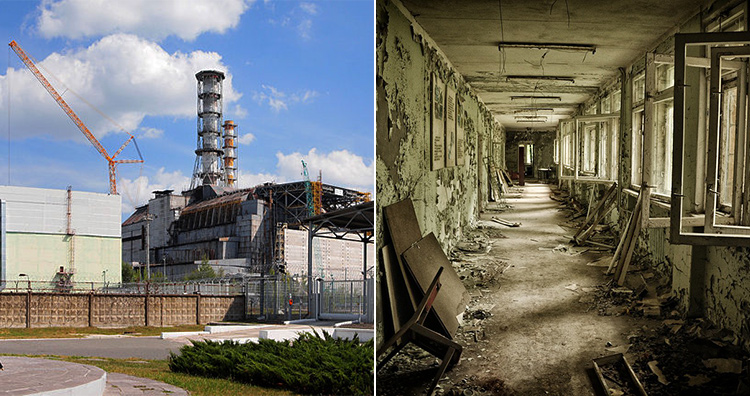 Chernobyl disaster in 1986 - Before and After
