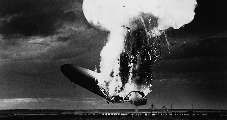 Worst engineering disasters: The Hindenburg space ship explodes spectacularly.