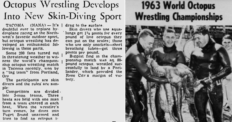 Octopus Wrestling Newspaper cutting, 1963 World Octopus Wrestling Championship