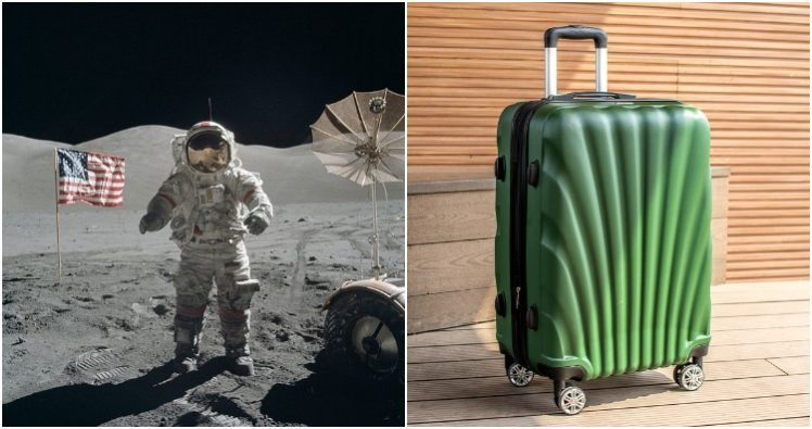 Men on moon before wheels on luggage