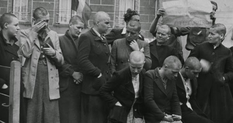French women having relations with German soldiers were punished by shaving their heads and parading them through town