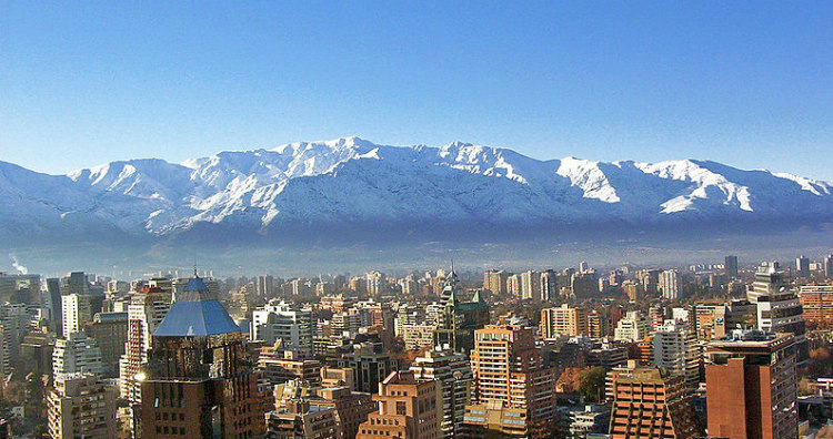 Andes Behind Modern Day Santiago