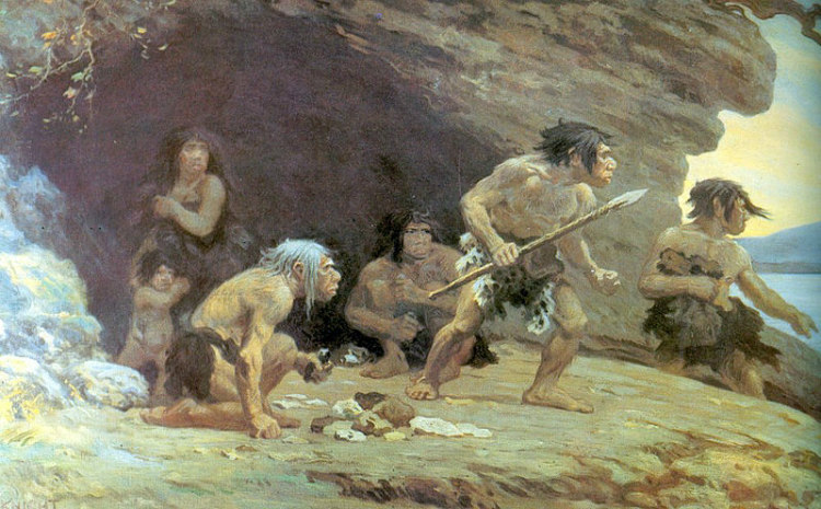 Le Moustier Neanderthals by Charles R. Knight