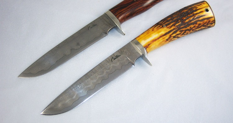 Damascus Bowie style knives