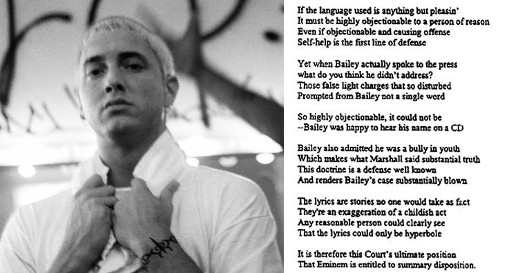 Judge raps in Eminem case