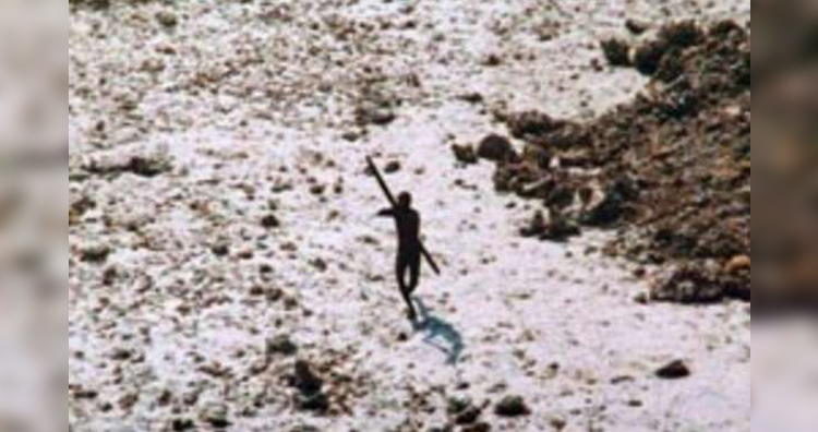 A Sentinelese shooting arrow