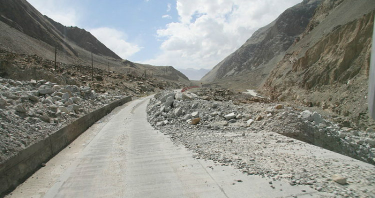 Karakoram Highway After a Landslide