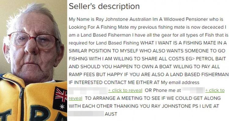 Widower reels in potential fishing companions