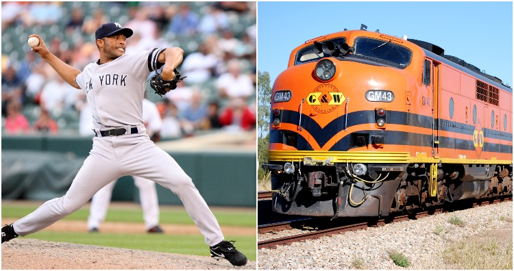 Baseball players throwing ball in the opposite direction as train