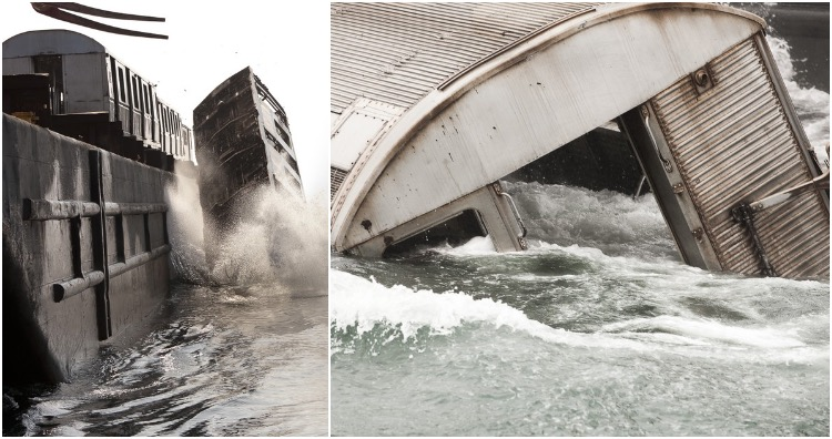 Retired subway cars being dumped into the ocean