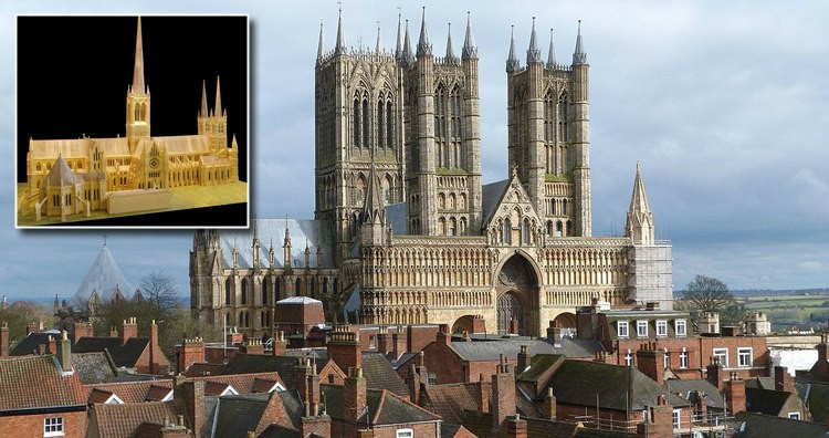 Lincoln Cathedral and Model With the Spire