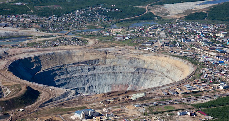 Mirny Diamond Pit and Mining Town